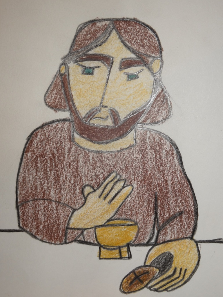 My 11-year old drew this picture of Jesus at the Eucharist.  I keep it over my desk.